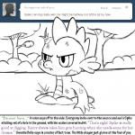 angry bitterplaguerat bush dialogue dirt dirty dragon english_text friendship_is_magic my_little_pony solo spike_(mlp) text tree