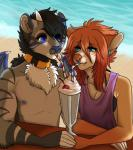 anthro beach beverage canine clothed clothing collar dtalvi duo feline female food fur hair male mammal outside seaside sitting whipped_cream