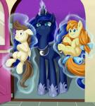 angry blue_eyes blue_feathers bow brown_feathers brown_hair child crown cub door dstears equine feathered_wings feathers female feral friendship_is_magic fur glowing group hair hair_bow hair_ribbon horn long_hair looking_at_viewer magic male mammal my_little_pony night open_mouth outside pegasus pound_cake_(mlp) princess_luna_(mlp) pumpkin_cake_(mlp) ribbons royalty smile star tail_bow tail_ribbon unicorn winged_unicorn wings young
