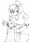 anthro big_breasts black_and_white breasts canine chochi clothed clothing duo elephant female fox lovely_pets male mammal mike_blade monochromeRating: SafeScore: 6User: MDBDate: November 10, 2009