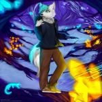2016 5_fingers angiewolf anthro black_nose blue_eyes blue_hair canine clothed clothing detailed_background dog forest fur grass hair male mammal solo standing tree white_furRating: SafeScore: 1User: MillcoreDate: March 23, 2017