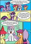 2017 apple_bloom_(mlp) cutie_mark cutie_mark_crusaders_(mlp) dialogue english_text equine female feral friendship_is_magic group hair hi_res horn mammal multicolored_hair my_little_pony open_mouth scootaloo_(mlp) shrabby smile sweetie_belle_(mlp) text twilight_sparkle_(mlp) two_tone_hair unicorn winged_unicorn wings young