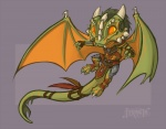 2016 4_toes anthro argonian armor big_eyes big_head brown_clothing chibi claws clothed clothing colored cute dew_claws dragon feathers feranta flying full-length_portrait gloves green_hair green_scales hair horn hybrid long_tail male markings membranous_wings no_pupils orange_eyes orange_markings portrait red_clothing scales scalie shaded signature skal-tel smile snout the_elder_scrolls toes toony video_games white_claws white_horn wings yellow_sclera