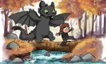 2014 calvin_and_hobbes dragon dreamworks duo fish green_eyes hiccup_(httyd) how_to_train_your_dragon human male mammal marine membranous_wings night_fury river scalie sharkie19 toothless tree wingsRating: SafeScore: 7User: kishkaDate: June 17, 2018
