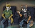 2017 anthro blue_eyes brown_eyes canine clothed clothing digital_media_(artwork) duo fully_clothed male mammal paan shanewolf sitting smile video_games wolf yokhameRating: SafeScore: 1User: YokhameDate: June 22, 2017
