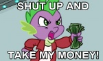 anthro clothed clothing dragon english_text friendship_is_magic futurama green_eyes green_scales holding_object humor low_res male meme money my_little_pony open_mouth purple_scales scales scalie shut_up_and_take_my_money solo spike_(mlp) text unknown_artist
