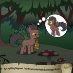 animated bitterplaguerat bush earth_pony equine fail forest horse loki_(bitterplaguerat) mammal mushroom my_little_pony pegasus pony solo text thought_bubble tree wings yellow_eyes