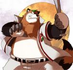 2012 baseball_(sport) baseball_uniform canine clothing doraemon male mammal overweight shirokumaou solo sport tanuki uniform