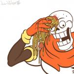 animated_skeleton armwear bone cape clothing derp_eyes food gloves hi_res humanoid humor male meatball meme not_furry open_mouth papyrus_(undertale) parody pasta reaction_image simple_background skeleton solo spaghetti sweat teeth undead undertale video_games white_background wide_eyed wipe wonder-waffle