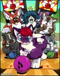 2017 ambiguous_gender anthro bowling canine eyes_closed eyeshadow feathered_wings feathers fox fur green_hair group hair horn licking licking_lips makeup mammal nude o-kemono open_mouth purple_fur red_hair tongue tongue_out wings