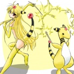 alternate_species ampharos blonde_hair cosplay duo female feral hair human humanized long_hair low_res mammal nintendo pokémon pokémon_trainer ranphafranboise video_games yellow_skin