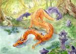 blue_eyes detailed_background dragon eastern_dragon feral fyreflysky orange_scales scales solo spines traditional_media_(artwork)Rating: SafeScore: 2User: MillcoreDate: January 23, 2018