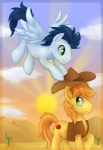 blue_feathers blue_fur blue_hair bottomless braeburn_(mlp) cactus clothed clothing cloud cowboy_hat cutie_mark day duo earth_pony equine feathered_wings feathers feral flying friendship_is_magic frown fur green_eyes hair hat holding_hat horse looking_at_another looking_down looking_up male mammal mn27 my_little_pony nude orange_hair outside pegasus pony side_view sky smile soarin_(mlp) spread_wings sun toony vest wings wonderbolts_(mlp) yellow_furRating: SafeScore: 6User: TrixieDate: June 14, 2011