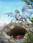 2018 ambiguous_gender claws day detailed_background dragon feral fur furred_dragon horn membranous_wings natoli outside sky traditional_media_(artwork) wingsRating: SafeScore: 4User: MillcoreDate: April 19, 2018