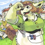 anthro big_breasts black_nose breasts brown_hair canine cleavage clothed clothing digital_media_(artwork) dress family female fur green_dress group hair low_res mammal oekaki open_mouth outside overweight paws solo_focus tongue utsuki_maitoRating: SafeScore: 1User: The Dog In Your GuitarDate: May 09, 2007