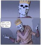 animated_skeleton bone clothing comic crown dan_warren dave_rapoza edit english_text humor not_furry reaction_image skeleton skeleton_ears steve_lichman steve_lichman_(character) text undeadRating: SafeScore: 49User: AxolotlDate: November 15, 2016