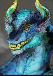 decadia digital_media_(artwork) dragon fangs horn scalie sharp_teeth solo teeth