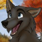 2014 ambiguous_gender anthro autumn black_fur black_nose blue_eyes canine cute fur happy icon mammal open_mouth outside smile solo star-gazer tongue tree wolf