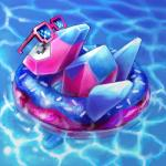 2018 ambiguous_gender cortoony digital_media_(artwork) digital_painting_(artwork) doughnut eyes_closed eyewear food inner_tube nintendo pink_body pokémon pokémon_(species) porygon relaxing sleeping solo sunglasses swimming_pool video_games water
