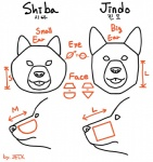 ambiguous_gender canine dog duo jeck jindo korean_text line_art mammal shiba_inu text tongue