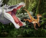 crimsonrex dinosaur feral jurassic_park jurassic_world open_mouth plant raptor running scales spinosaurus split_jaw teeth the_isle theropod tongue
