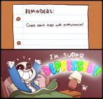 2016 4_fingers animated_skeleton bed black_border bone border clock clothed clothing coat comic dialogue digital_media_(artwork) english_text hi_res humor jacket lamp monster mudkipful not_furry paper parody pillow sans_(undertale) skeleton text the_truth undead undertale video_games yelling