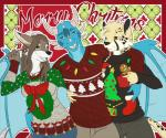 anthro canine christmas clothed clothing dragon feline female group holidays hug juxzebra looking_at_viewer male mammal open_mouth smile standingRating: SafeScore: 0User: Cat-in-FlightDate: March 31, 2017