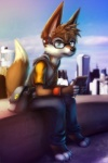 anthro bag barefoot black_nose blue_eyes brown_fur brown_hair canine cellphone clothing detailed_background eyewear fox fur glasses hair headphones hi_res hoodie looking_at_viewer male mammal phone pointy_ears sitting skyscraper solo thanshuhai white_fur