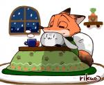 :3 anthro black_fur black_nose building canine carrot chibi clothing cup disney duo eyes_closed female food fox fur grey_fur hug inner_ear_fluff judy_hopps kotatsu lagomorph long_ears male mammal nick_wilde night orange_fur paws plant potted_plant rabbit simple_background size_difference smile smoke snow tall vegetable vertical_bar_eyes white_fur window zootopia りくお