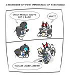 alien autobot aww blue_eyes comic confusion cute cybertronian dialogue digital_media_(artwork) english_text female group holding_object horn humanoid humor jazz_(transformer) living_machine machine male not_furry open_mouth pollution-of-subterranean-waters prowl_(transformer) robot simple_background smile strongarm_(character) text transformers white_backgroundRating: SafeScore: 1User: RobotHellDate: March 25, 2017