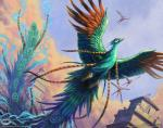 avian beak bird building christopher_burdett cloudscape feral flying group low-angle_view magic_the_gathering official_art peafowl signature size_difference sky solo_focus