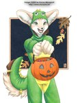 2006 anthro candy canine costume cute dinosaur female fennec food fox fruit fursuit halloween holidays jack_o'_lantern kacey mammal pumpkin scalie solo story story_in_description trick_or_treat