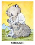 ambiguous_gender anthro black_eyes card claws clothing daisy_(flower) duo echidna english_text female feral major_arcana mammal marsupial monotreme strength_(tarot) tarot_card text ursula_vernon wombatRating: SafeScore: 5User: ClawstripeDate: March 31, 2017