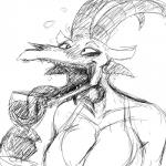 alcohol anthro beverage big_breasts black_and_white blush breasts cleavage clothed clothing demon drinking drunk glass hi_res hladilnik horn huge_breasts lucy_(hladilnik) monochrome open_mouth sharp_teeth solo teeth tongue tongue_out wine