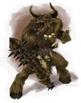 angry anthro beastmen bovine cattle chaos clothing club_(weapon) facial_piercing fur hammer horn innerabove loincloth male mammal melee_weapon minotaur muscular nipples nose_piercing nose_ring open_mouth piercing red_eyes septum_piercing skull solo spiked_club teeth tools warhammer weapon ☼Rating: SafeScore: 6User: RobinebraDate: January 29, 2012
