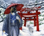 2006 anthro asian canine detailed_background heather_bruton male mammal nature outside park snow solo torii umbrella winter wolf