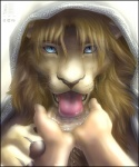 2010 anthro blue_eyes brown_hair claws colored desert digitigrade drinking duo feline first_person_view hair human lapping lion looking_at_viewer male mammal mane portrait solo_focus tongue water whiskers zen