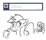>:3 beverage black_and_white cutie_mark equine female feral friendship_is_magic horn horse knife lyra_heartstrings_(mlp) magic mammal monochrome my_little_pony pony scared slowderpyguy smile sweat text tongue tongue_out unicorn