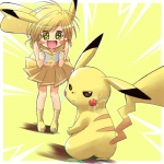 animal_humanoid blonde_hair clothing cosplay duo female feral fur hair human humanoid low_res mammal nintendo pikachu pokémon pokémon_trainer ranphafranboise rodent skirt video_games yellow_eyes yellow_fur