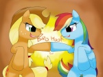 4:3 applejack_(mlp) blonde_hair blue_feathers blue_fur duo earth_pony equine feathered_wings feathers female feral fist_bump friendship_is_magic fur green_eyes hair hat horse hoyeechun mammal multicolored_hair my_little_pony pegasus pony purple_eyes rainbow_dash_(mlp) rainbow_hair wings