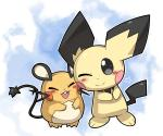3_fingers 3_toes ambiguous_gender black_eyes blush dedenne duo eyes_closed feral fur looking_at_viewer mammal nanikoulei nintendo one_eye_closed open_mouth pichu pokémon pokémon_(species) rodent simple_background smile star toes video_games yellow_fur yellow_skinRating: SafeScore: 6User: FinchmasterDate: December 22, 2013