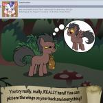 bitterplaguerat bush earth_pony equine forest horse loki_(bitterplaguerat) mammal mushroom my_little_pony pegasus pony solo text thinking thought_bubble tree wings yellow_eyes