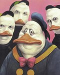 anthro avian baseball_cap beak bird bow_tie clothed clothing creepy dewey_duck disney donald_duck duck ducktales front_view group hat huey_duck looking_at_viewer louie_duck male manfred_deix nightmare_fuel shirt where_is_your_god_now