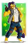 ango76 anthro barefoot clothed clothing facial_hair feline fingerless_gloves fluffy fluffy_tail fur gloves green_background green_eyes hair headphones henry_hass hi_res jeans male mammal open_shirt pants paws pointing purple_hair red_nose signature simple_background smile solo standing vest whiskers white_background white_belly white_fur yellow_furRating: SafeScore: 2User: Jake_NorthcoteDate: February 26, 2016