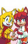anthro archie_comics blue_eyes bow canine chauvels clothing dress eyelashes female fingerless_gloves fiona_fox fox frown fur gloves group hi_res larger_female male mammal micro miles_prower multi_tail open_mouth open_smile orange_fur red_fur size_difference smaller_male smile sonic_(series) sonic_boom yellow_fur zooey_the_fox