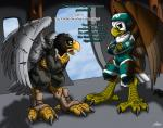 2015 aircraft airplane armor avian bald_eagle bird boots catmonkshiro clothing duo eagle flight_suit flying footwear helmet male nfl pheagle philadelphia_eagles skydiving stellars_sea_eagle swoop_(philadelphia_eagles) torn_clothing transformation
