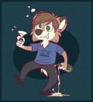 2009 alcohol analon_(artist) anthro beverage bottle canine clothed clothing cross-eyed drunk footwear fully_clothed glass green_eyes holding_bottle holding_glass holding_object johnny_boy male mammal pants shirt shoes solo standing wolfRating: SafeScore: 1User: RiversydeDate: July 01, 2010