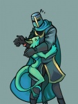 <3 anthro armor cape clothed clothing colored crown duo female green_skin helmet horn hug human knight knight_(towergirls) kobold kobold_princess male mammal princess royalty scalie simple_background size_difference skimpy towergirls unknown_artist unsureRating: SafeScore: 130User: ROTHYDate: November 22, 2014