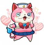 anthro clothing feline female kflamingo looking_at_viewer mammal navel one_eye_closed open_mouth sailor_fuku sailornyan skirt slightly_chubby solo standing sweat video_games wink yo-kai_watch