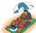 2017 anthro beach bear beard black_fur brown_fur clothing duo facial_hair fur hashburrowns hug hugging_from_behind lazycookieburr looking_back male mammal one_eye_closed open_mouth outside seaside shorts simple_background sitting slightly_chubby smile swimming_trunks swimsuit tan_fur teeth towel umbrella video_games white_background winkRating: SafeScore: 0User: mapachitoDate: October 22, 2017